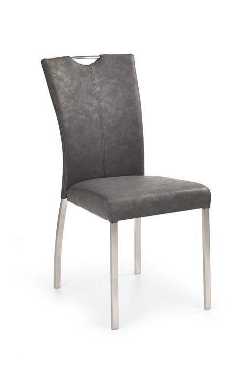 Jídelní židle K178  (eko kůže šedá,ocel)