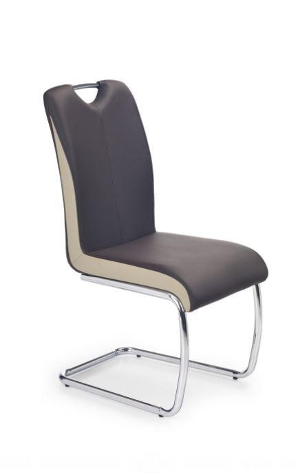 Jídelní židle K184  (eco kůže tmavě hnědá-šampaň, chrom)