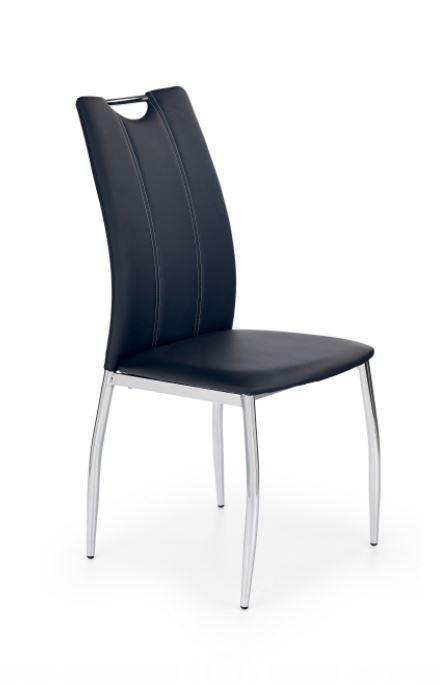 Jídelní židle K187 (eco kůže černá, chrom)
