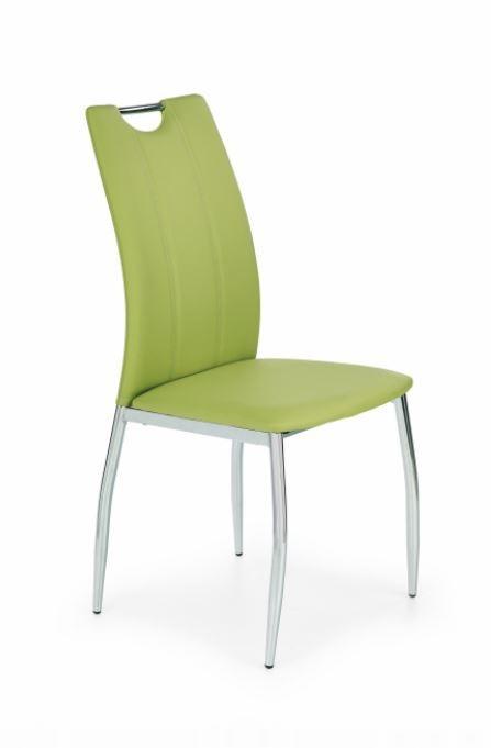 Jídelní židle K187 (eco kůže limetová, chrom)