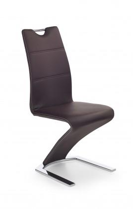 Jídelní židle K188 (eco kůže hnědá, chrom)