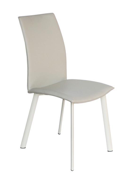 Jídelní židle K192  (eko kůže béžová,matná ocel bílá)