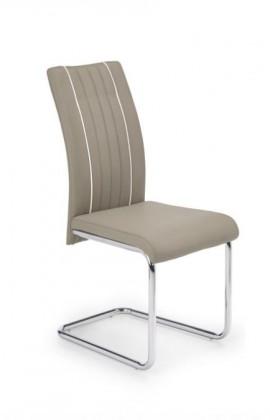 Jídelní židle K193  (eco kůže béžová, chrom)
