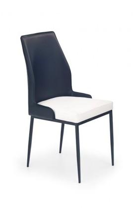 Jídelní židle K199 (eko kůže,bílo-černá,ocel)