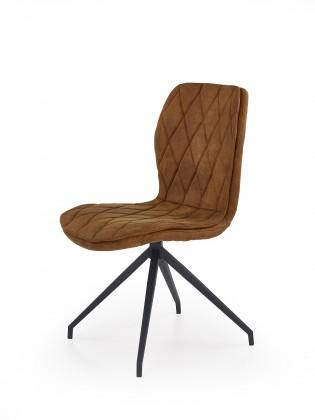 Jídelní židle K237 - Jídelní židle, hnědá (ocel, eko kůže)