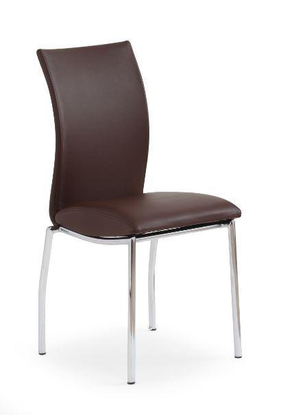 Jídelní židle K76  (eco kůže hnědá, chrom)