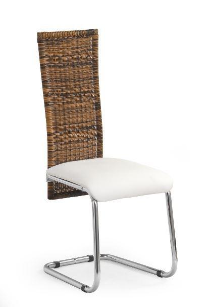 Jídelní židle K79  (eco kůže krémová, ratan, chrom)