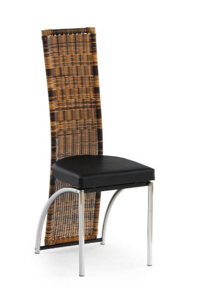 Jídelní židle K80  (eco kůže černá, ratan, chrom)