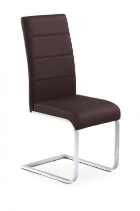 Jídelní židle K85 (eco kůže hnědá, chrom)