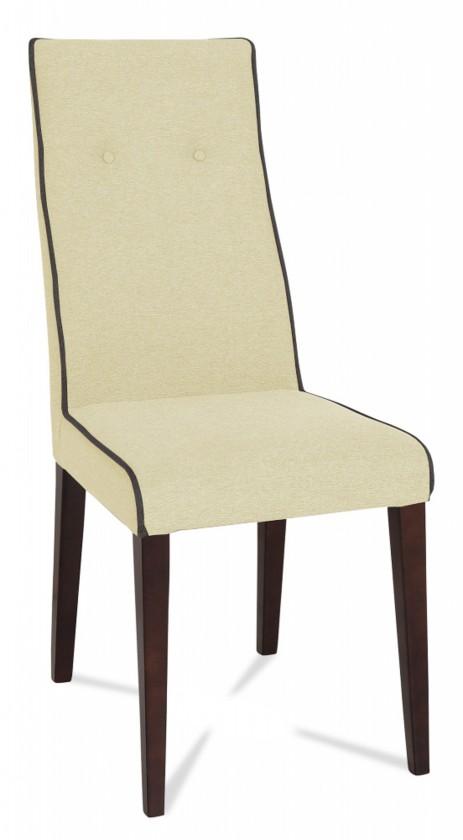Jídelní židle Kanita (wenge/látka carabu světle béžová/linka šedá)