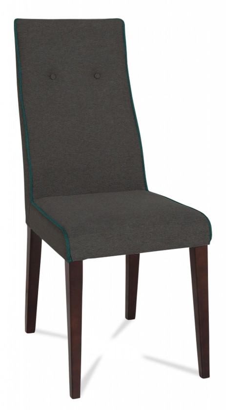 Jídelní židle Kanita (wenge/látka navara šedá/linka petrolejová)