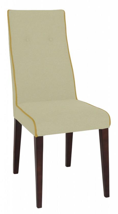 Jídelní židle Kanita (wenge/látka navara světle béžová/linka hořčicová)