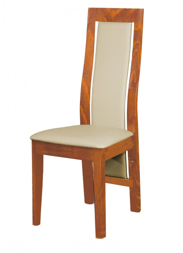 Jídelní židle Kanzas - jídelní židle (dřevo - světlý ořech/potah - syntetická kůže)
