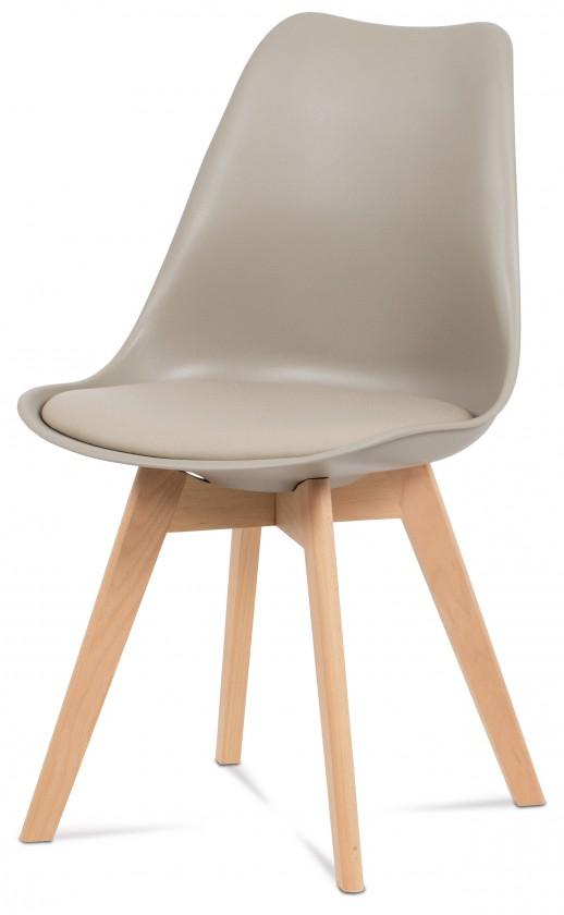 Jídelní židle Lina - Jídelní židle latté, plast + eko kůže
