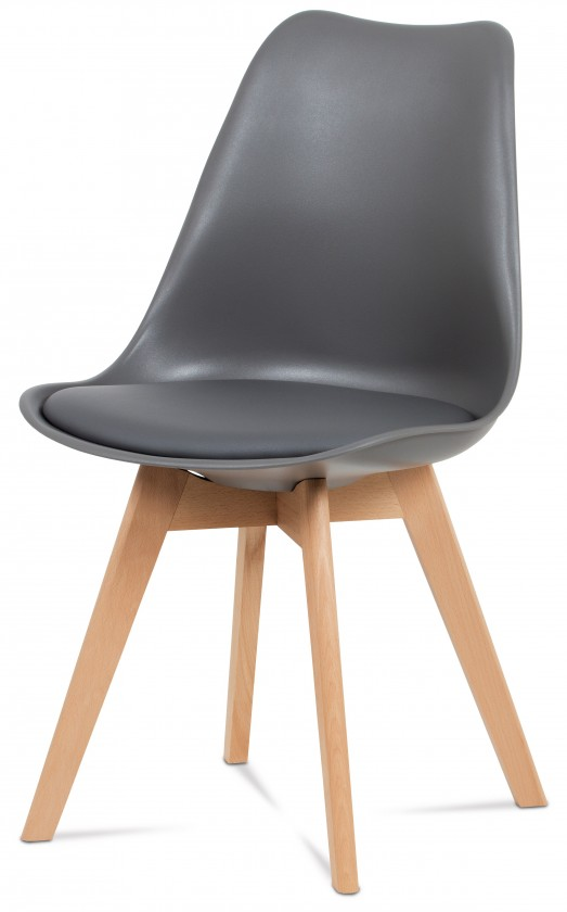 Jídelní židle Lina - Jídelní židle šedá, plast + eko kůže