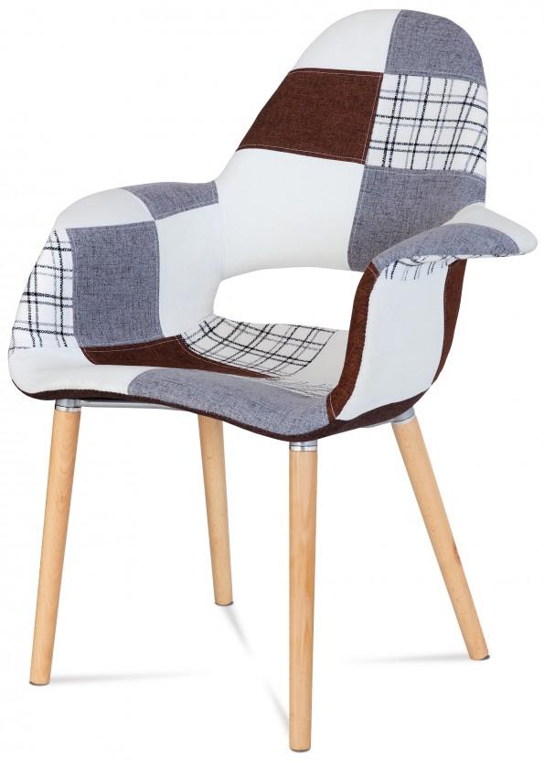 Jídelní židle Lis - Jídelní židle s područkami (patchwork/natural)