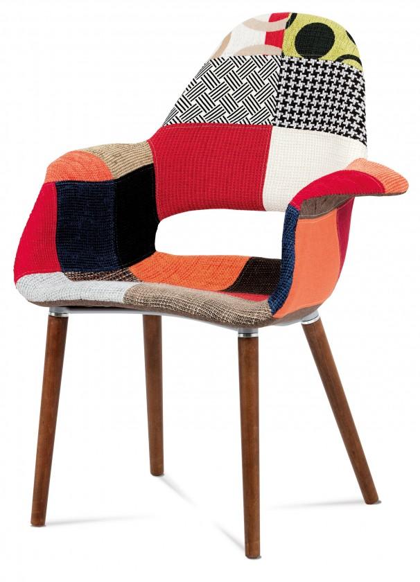 Jídelní židle Lis - Jídelní židle s područkami (patchwork/ořech)