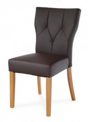 Jídelní židle Lisa(koženka tm. hnědá/dub)