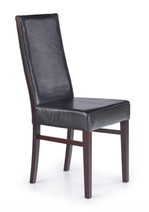 Jídelní židle Ludwik  (eco kůže černá MG14, ořech tmavý)