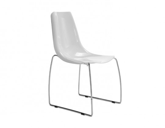 Jídelní židle Lynea-T - Jídelní židle (chrom, bílá)