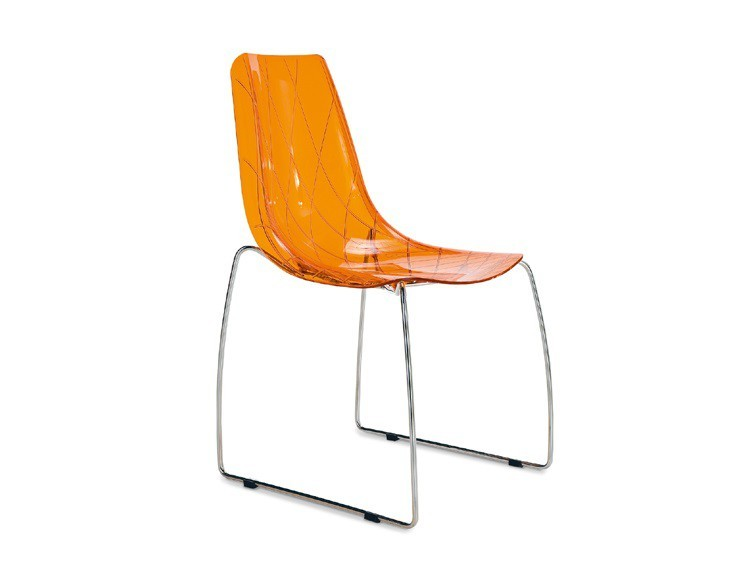 Jídelní židle Lynea-T - Jídelní židle (chrom, oranžová)