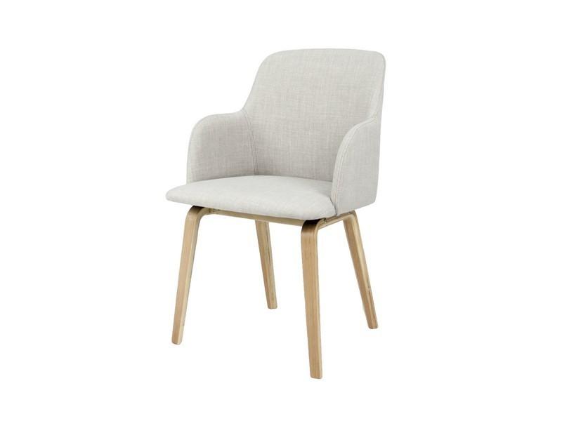 Jídelní židle Mary - Jídelní křesílko (dub, látka šedá)