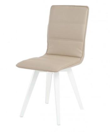 Jídelní židle Meggie(koženka lanýžová/vysoký lesk bílý)