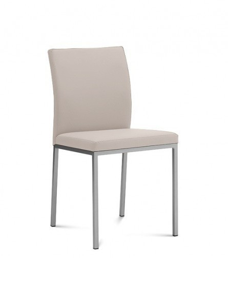 Jídelní židle Miro - Jídelní židle (saténový hliník, eko kůže béžová)