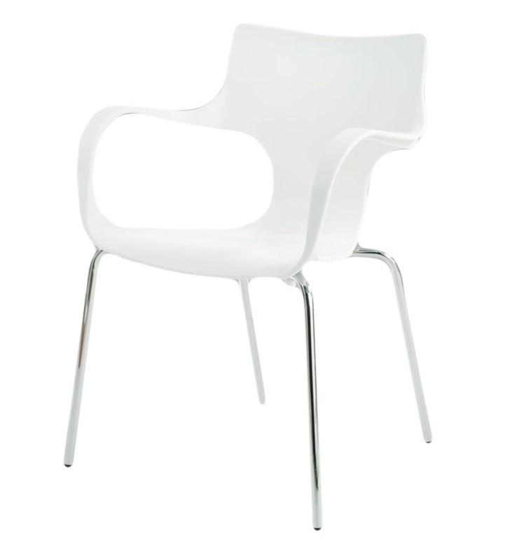 Jídelní židle Penny(bílá, plast/chrom)
