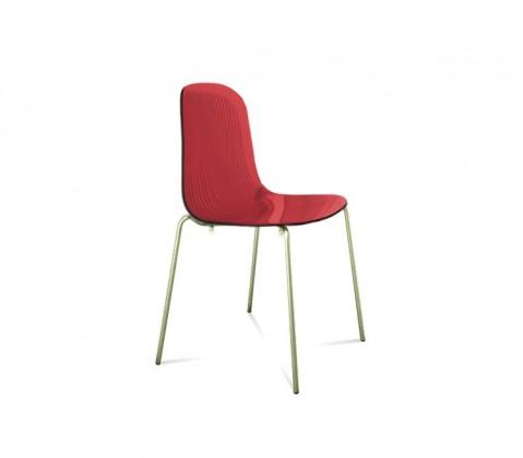 Jídelní židle Playa (chromovaná ocel, červená bordó)