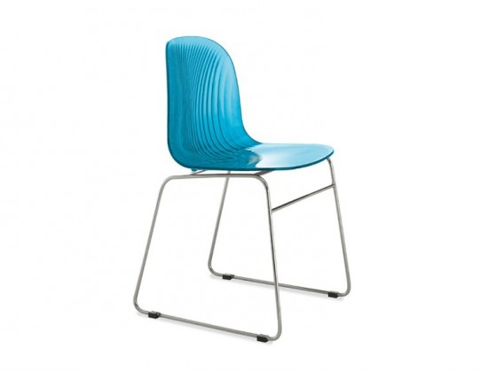 Jídelní židle Playa-T (chromovaná ocel, světle modrá)
