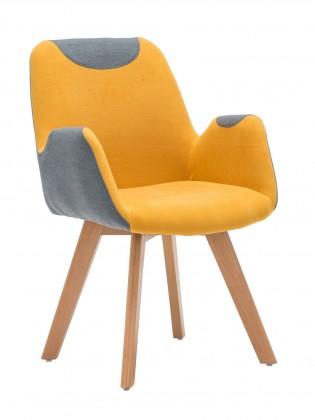 Jídelní židle SAFARI - šedá s oranžovou, područky