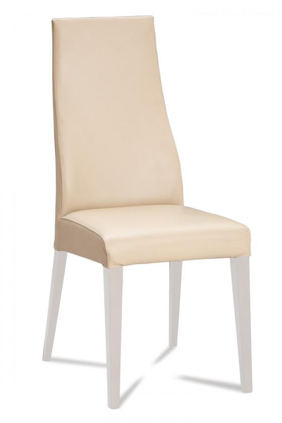 Jídelní židle Semora (bílá mat/eko kůže vienna krémová)