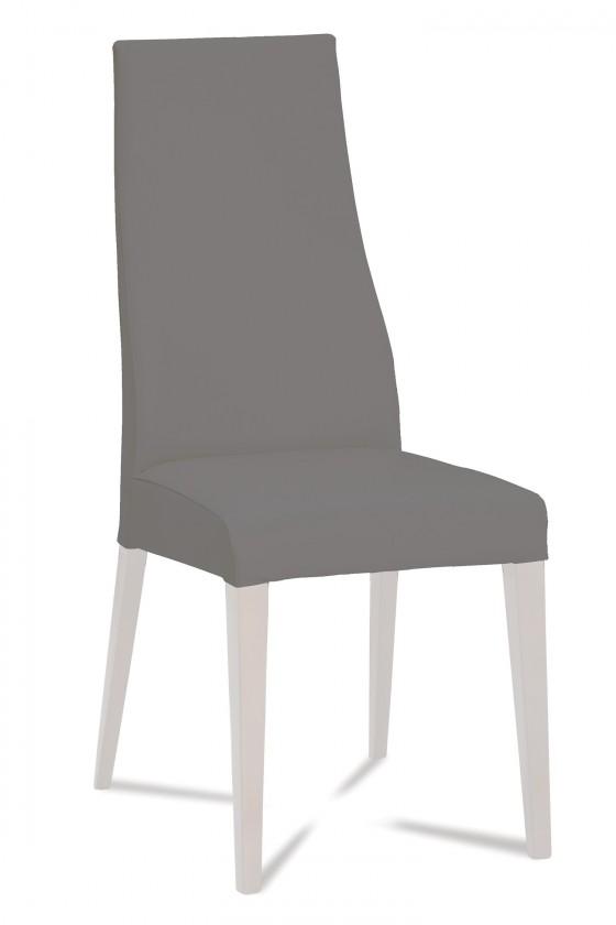 Jídelní židle Semora (bílá mat/látka navara šedá)