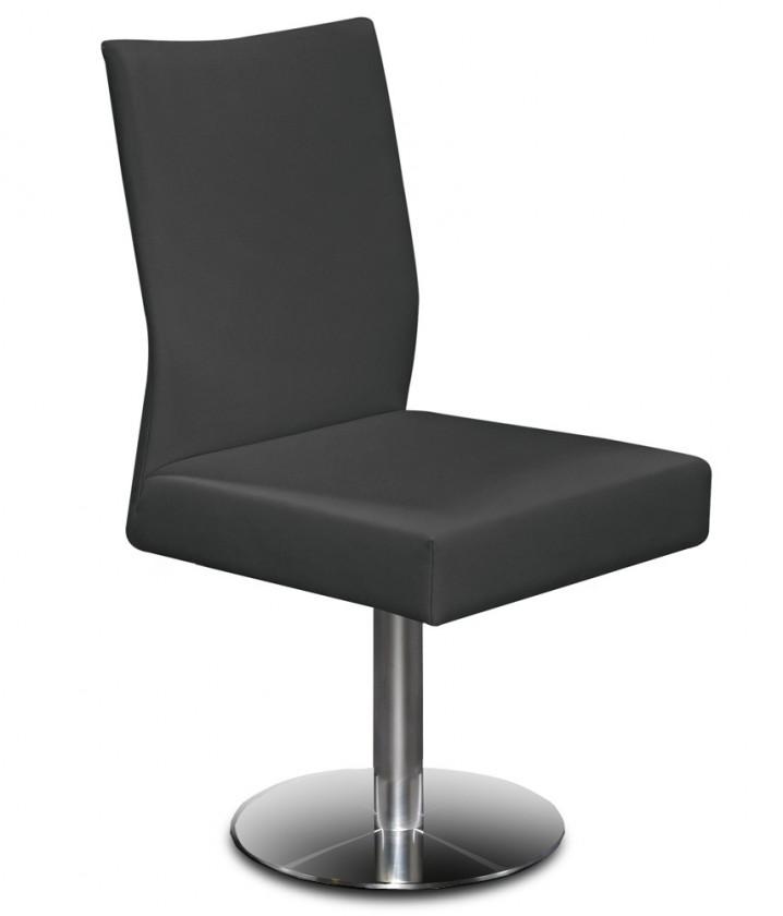 Jídelní židle Set - centrální noha (ocel nerez, eko kůže černá)