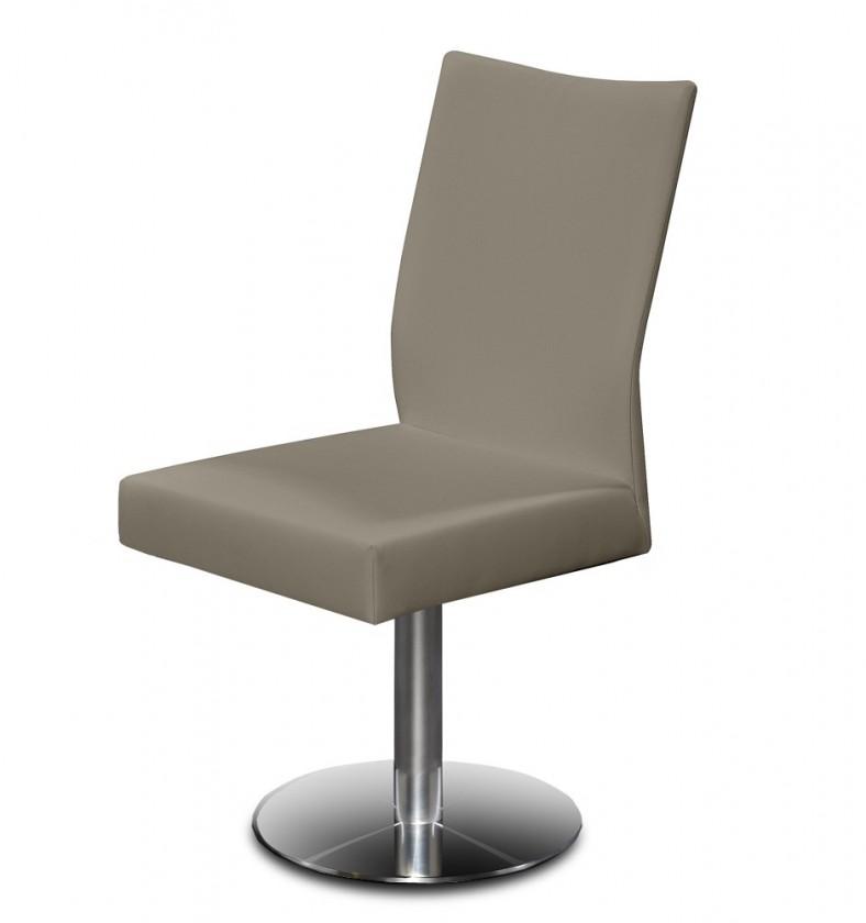 Jídelní židle Set - centrální noha (ocel nerez, eko kůže hnědá)