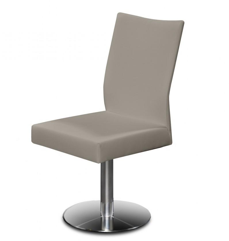 Jídelní židle Set - centrální noha (ocel nerez, ekokůže sahara)
