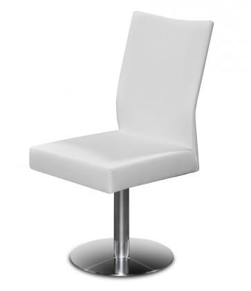Jídelní židle Set - centrální noha (ocel nerez, kůže bílá)