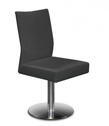 Jídelní židle Set - centrální noha (ocel nerez, kůže černá)