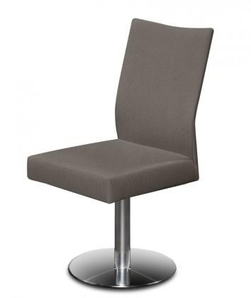 Jídelní židle Set - centrální noha (ocel nerez, šedohnědá)