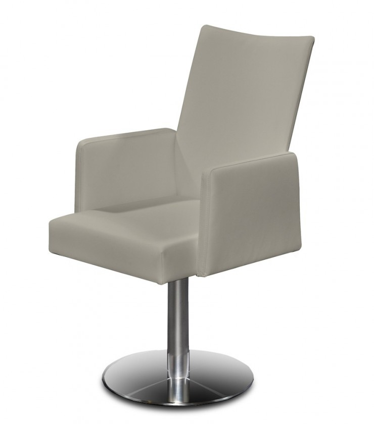 Jídelní židle Set - centrální noha, područky (ocel nerez, eko kůže sahara)