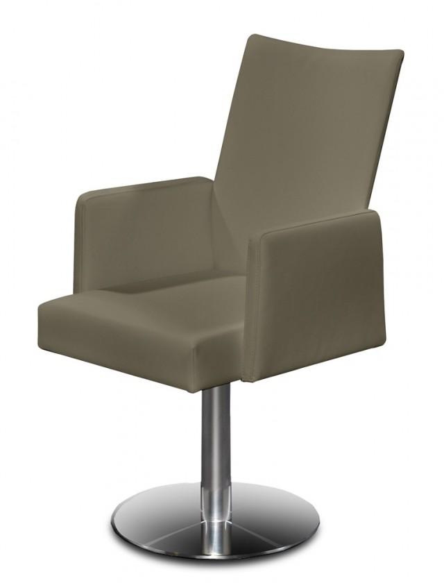 Jídelní židle Set - centrální noha, područky (ocel nerez, eko kůže sv. hnědá)