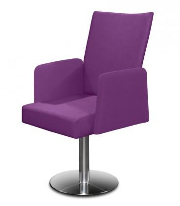 Jídelní židle Set - centrální noha, područky (ocel nerez, fialová)