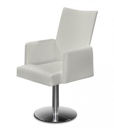 Jídelní židle Set - centrální noha, područky (ocel nerez, krémová)