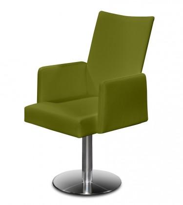 Jídelní židle Set - centrální noha, područky (ocel nerez, olivová)