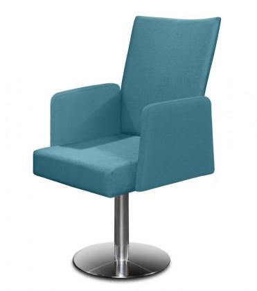 Jídelní židle Set - centrální noha, područky (ocel nerez, petrolejová)