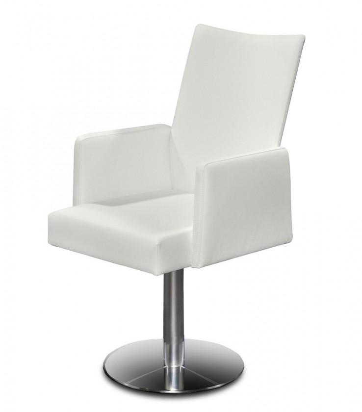 Jídelní židle Set - centrální noha, područky (ocel nerez, pravá kůže bílá)