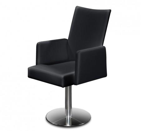 Jídelní židle Set - centrální noha, područky (ocel nerez, pravá kůže černá)