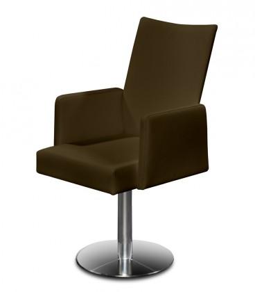 Jídelní židle Set - centrální noha, područky (ocel nerez, pravá kůže hnědá)