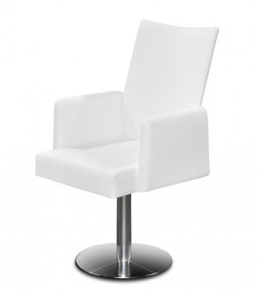 Jídelní židle Set - centrální noha, područky (ocel nerez, slonová kost)